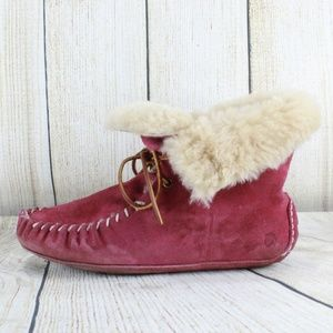 Acorn Pink Suede Shearling Lined Bootie Slippers